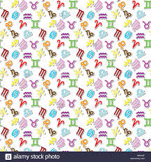 colorful zodiac signs icon vector pattern on white background