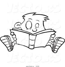 drawings of children reading book outlined coloring page drawing