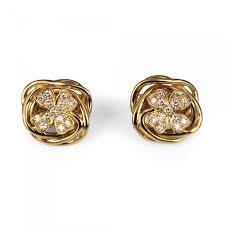cheap diamond earrings chanel chanel 4 leaf clover diamond earrings