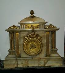 incredible antique french mantel clock marble brass columns