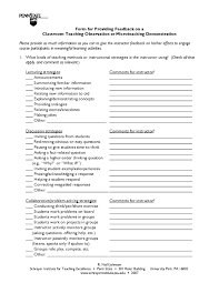 10 different observational feedback forms