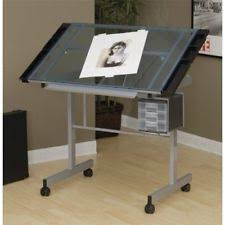 Glass Top Drafting Drawing Table Drafting Table Sketch Drawing Desk Portable Sliding Wheeled
