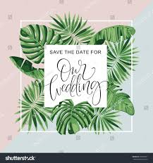 Rsvp Invitation Card Wedding Invitation Card Tropical Flowers Background Stock Vector