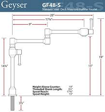 geyser gf48 s stainless steel deck mount pot filler kitchen faucet
