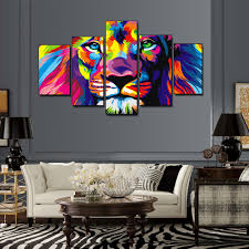 5 pieces colorful lion king oil painting animal art pictures