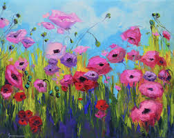 Image Of Spring Flowers by Pink Poppy Flower Field Oil Painting 30x24 A Joyful Scene Of