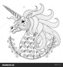 coloring pages hand drawing unicorn for anti stress