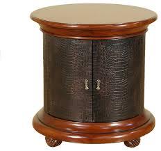 mahogany american drew bob mackie croc leather round nightstand