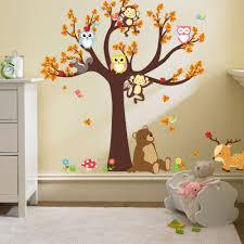 online get cheap owl tree wall decal aliexpress alibaba group cartoon monkey owl tree flower butterfly wall stickers bedroom kids room home decor vinyl