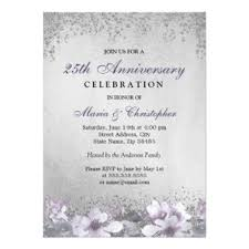 purple silver 25th anniversary invitations u0026 announcements zazzle