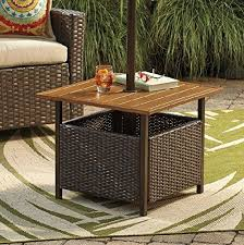 Patio Umbrella Stand Wicker And Steel Side Table Base Holder For
