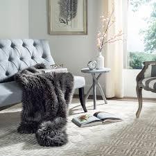 Faux Fox Fur Throw Faux Fur Shadow Fox Dark Grey Throw Blanket