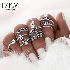 midi ring set 17km 10pcs set gold color flower midi ring sets for women silver