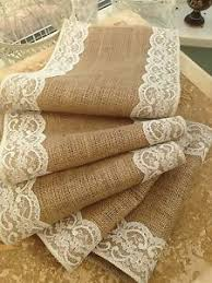 shabby chic table runner hessian and lace shabby chic table runner various lengths widths ebay
