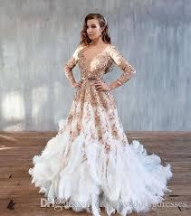 feather wedding dress discount 2016 gorgeous ostrich feather wedding dresses luxury gold
