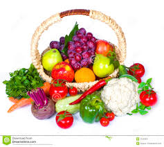 fruit and vegetable basket composition of fruits and vegetables in wicker basket royalty free