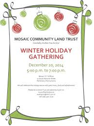 mosaic community land trust winter holiday gathering mosaic