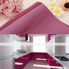 glossy purple self adhesive wallpaper kitchen units cupboard door