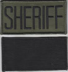sheriff black on od green front panel patch 2 1 8