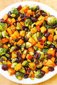 maple butternut squash roasted brussels sprouts pumpkin seeds and