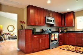 Kitchen Backsplash Cherry Cabinets by Cherry Shaker Cabinet Red Oak Hardwood Floor Black Galaxy