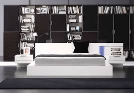 Modern White Bed Frame Modrest Modern White Lacquer Nightstands Attached Queen Size Bed Frame