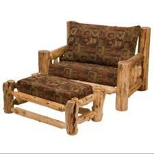 buy cedar log futon chair w ottoman white pine sage in cheap