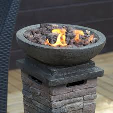 patio fire pit propane gas heater burner column firepit resin