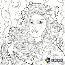 coloring pages mermaids with flowers in her hair coloring page zentangles