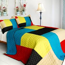 Red And Yellow Duvet Covers Red Blue Yellow Patchwork Teen Bedding Full Queen Quilt Set