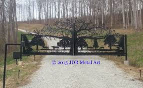 tree driveway gates designs plasma cut by jdr metal