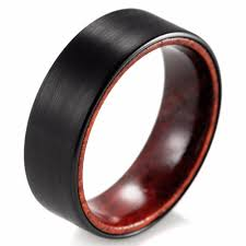 wood wedding band shardon 8mm black tungsten inner wood ring with matte