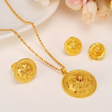 pendant necklace earring images Ethiopian gold jewelry set pendant necklaces earring ring crystal jpg