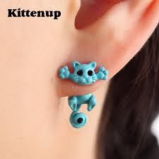 cat stud earrings classic fashion kitten cat stud earrings for women