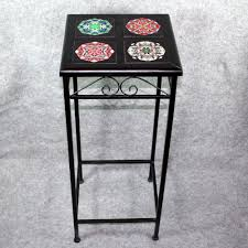 Ceramic Accent Table by Black Iron Accent Table Side Table With Ceramic Tile Top Sacred
