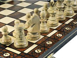 woodburning ambassador wooden chess set board brown 21x21 inches