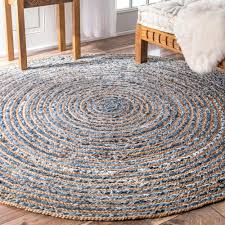 Round Natural Rug by Nuloom Braided Rikki Border Jute