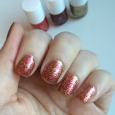 formula x gold with red stamping workaday beauty nail art