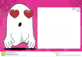 inlove ghost halloween cartoon expressions frame background stock