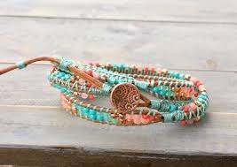 boho wrap coral teal and copper 3x textured macrame boho wrap bracelet