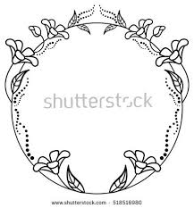black white frame outline decorative stock vector 518516944