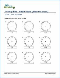clock worksheets online grade 1 math worksheet telling time whole hours draw the clock