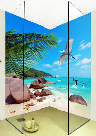 popular shower tiles designs buy cheap shower tiles designs lots large 3d wall stickers palm dolphins shower bathtub art wall mural floor decals creative design for
