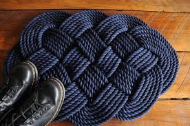 Navy Bath Rug Nautical Decor Navy Rope Rug Navy Bath Mat Cotton Rope