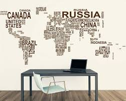 World Map Wall Sticker by World Map Country Names Vinyl Decals Modern Wall Stickers