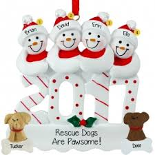 family of four with ornaments personalized