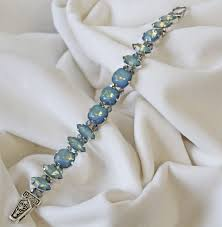 white opal crystal white opal swarovski crystal bracelet