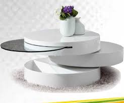 triple round white table with storage under the counter top