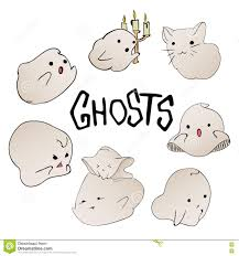 cute ghost characters set halloween party hand drawn lettering