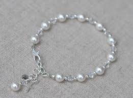 silver bracelet with crystal images First communion bracelet with swarovski elements pearls crystal jpg